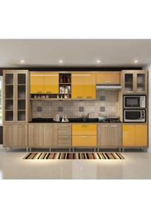 Cozinha Completa Com Tampo 17 Portas 9 Peças Sicília Multimóveis Argila/Amarelo