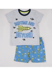"Pijama Infantil ""Bed Time And Beyond"" Lunar Manga Curta Cinza Mescla"