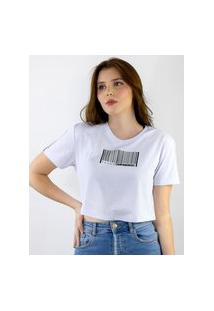 Camiseta Cropped Toneh Estampado Codigo Branca Branco