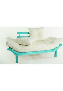 Sofá Cama Madeira Futon Country Comfort Acab. Stain Azul Com Almofada/Colchao Tecido T01 Acquablock - 190X80X83 Cm