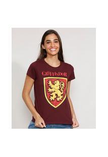 Camiseta Feminina Manga Curta Harry Potter Grifinória Decote Redondo Vinho