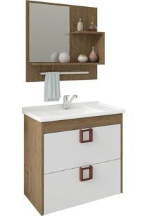 Conjunto Para Banheiro Com 1 Porta Lirio-Mgm - Carvalho / Branco