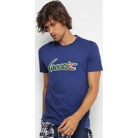 809b073e517fb Camiseta Lacoste Gola Careca New Logo Masculina - Masculino-Marinho