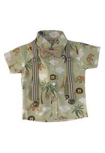 Camisa Tematica Curta Com Suspensório E Gravata Mabu Denim Verde