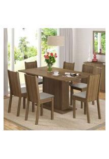 Conjunto Sala De Jantar Madesa Megan Mesa Tampo De Madeira Com 6 Cadeiras Rustic/Pérola
