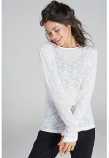 Camiseta Yogini Manga Longa Feminina - Feminino-Off White