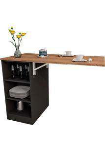 Mesa De Cozinha Articulada Retangular Enjoy Castanho E Preta 100 Cm