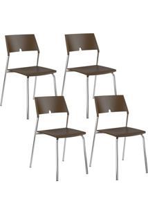 Cadeira 1711 Cromada 04 Unidades Polipropileno Cacau Carraro