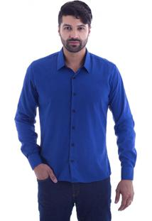 Camisa Slim Fit Live Luxor Azul Royal 2112 - M