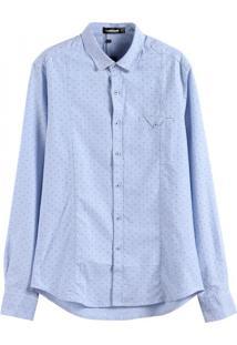 Camisa Masculina Slim Manga Longa - Azul Claro P