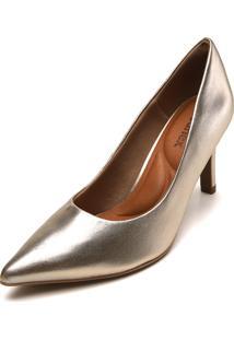 Scarpin Usaflex Metalizado Dourado