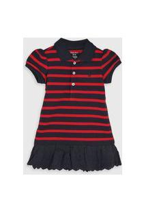 Vestido Polo Ralph Lauren Infantil Listras Azul-Marinho/Vermelho