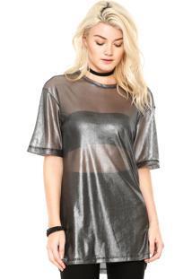 Camiseta Triton Estampada Prata