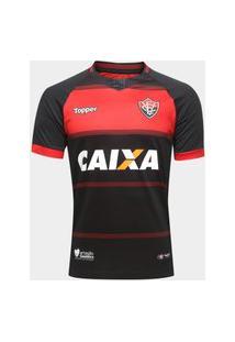Camisa Vitória I 2018 C/Nº Topper Vermelho E Preto 4201753-172