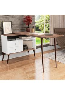 Mesa Para Escritório 2 Gavetas Rt 3077 Branco/Rústico - Móvel Bento