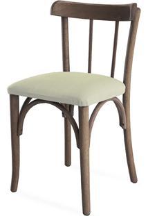 Cadeira De Madeira Tipo Restaurante Estofada Justine - Stain Nogueira - Tec.924 Off White - 43X47,5X78,5 Cm