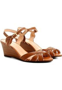f1a9357f9e Sandália Anabela Couro Shoestock Feminina - Feminino