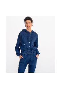Jaqueta Moletom Jeans Lisa Com Capuz E Bolsos | Marfinno | Azul | P