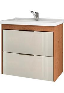 Gabinete Suspenso Para Banheiro Lavanda 56X59Cm Amêndoa E Off White