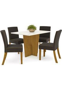 Sala De Jantar Mesa Retangular Vértice 120Cm Com 4 Cadeiras Maris Natu
