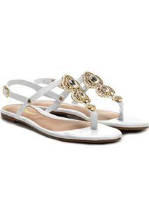 Rasteira Look Fashion Pedraria Verniz - Feminino-Branco