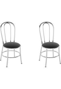 Cadeiras Kit 2 Cadeiras Pc01 Assento Preto - Pozza