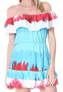 Vestido Bon Ciganinha Azul Claro & Vermelho