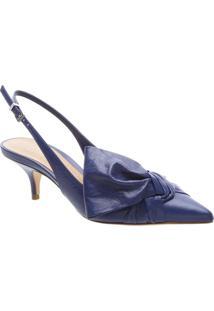 e6ff3f860 Sapato Chanel Em Couro Com Laço- Azul Escuroschutz