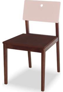 Cadeira Flip Cor Cacau Com Encosto Bege Claro - 31132