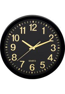 Relógio De Parede- Preto & Dourado- Ø35X5,5Cm- Mmart