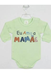 Body Bebê Manga Longa Mamãe - Masculino-Verde