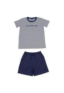 Pijama Curto Listrado Borth