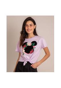 Camiseta De Algodão Minnie Flocada Com Nó Manga Curta Decote Redondo Lilás