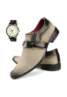 Sapato Social Tricê Neway Masculino Bege + Relógio