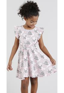 Vestido Infantil Estampado Floral Com Babado Manga Curta Rosa Claro