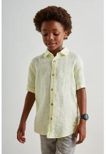 Camisa Mini Pf Mc Linho Verao Infantil Reserva Mini Masculina - Masculino-Amarelo Claro
