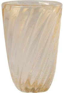 Vaso De Murano Transparente Com Ouro Bova