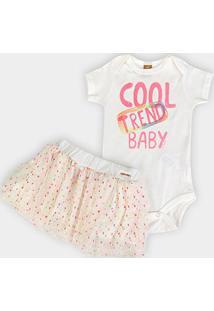 Conjunto Infantil Up Baby Body Em Suedine E Saia Meia Malha E Tule Cool Trend Baby - Feminino-Off White