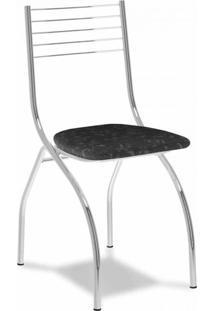 Cadeira Cromada Fantasia Preta