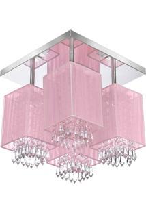 Lustre Plafon Quadclear Organza Quadrado Rosa Maravilhoso - Rosa - Dafiti