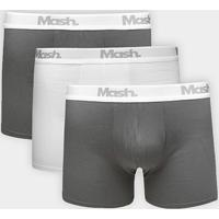 a117277d4 Kit Cueca Boxer Mash Cotton 3 Peças - Masculino-Cinza+Branco