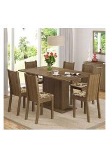Conjunto Sala De Jantar Madesa Megan Mesa Tampo De Madeira Com 6 Cadeiras Rustic/Bege Marrom