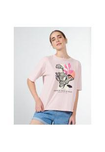 Amaro Feminino T-Shirt Oversized Tropical Poster Rosa, Rosa Claro