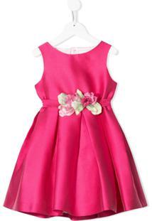Mimilù Vestido Com Aplicação Floral E Detalhe Vazado - Rosa