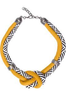 Colar Curto Cordas Shoulder - Amarelo