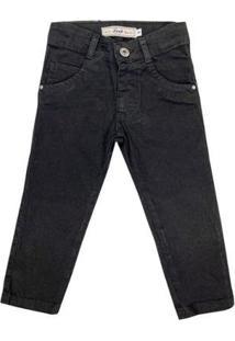 Calça Infantil Look Jeans Skinny Collor Masculina - Masculino-Preto