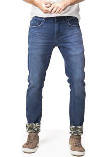 Calça Masculina Jeans Barra Camuflada Cinza Escuro