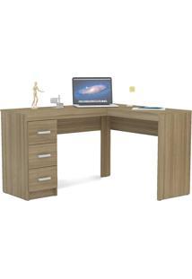 Mesa Para Computador Com 3 Gavetas Fênix - Politorno - Castanho