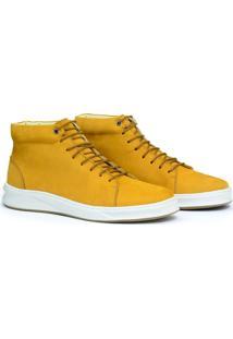 Bota Sneaker Couro Masculino Cano Médio Dia A Dia Confort Amarelo