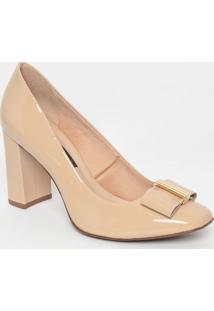 Sapato Em Couro Envernizado- Bege Claro- Salto: 8,5Cjorge Bischoff